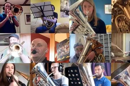 A collage of many people playing brass instuments