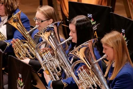 Perthshire Brass' euphonium and baritone section performing at the 2019 Scottish Brass Band Championships